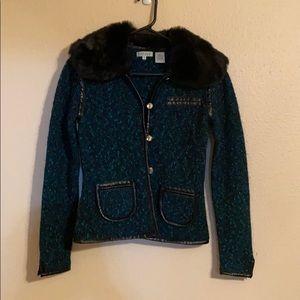 Twiggy sweater blazer with fur collar.